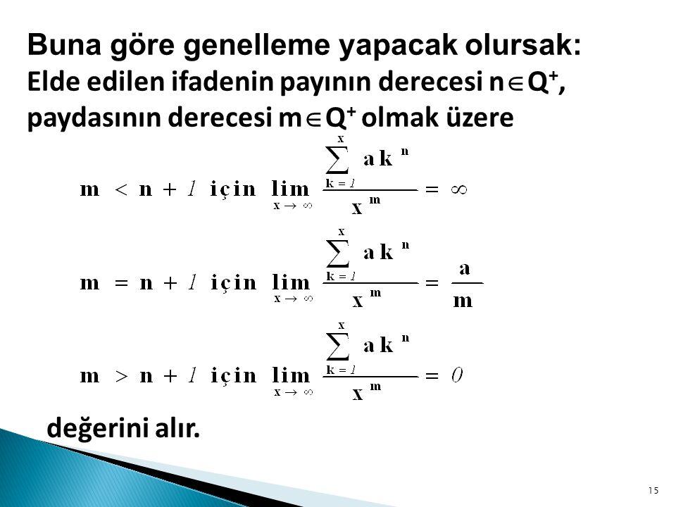 değerini alır. Buna göre genelleme yapacak olursak: Elde edilen ifadenin payının derecesi n  Q +, paydasının derecesi m  Q + olmak üzere 15