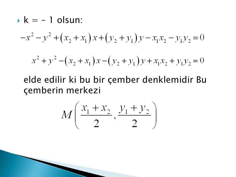  k = – 1 olsun: elde edilir ki bu bir çember denklemidir Bu çemberin merkezi