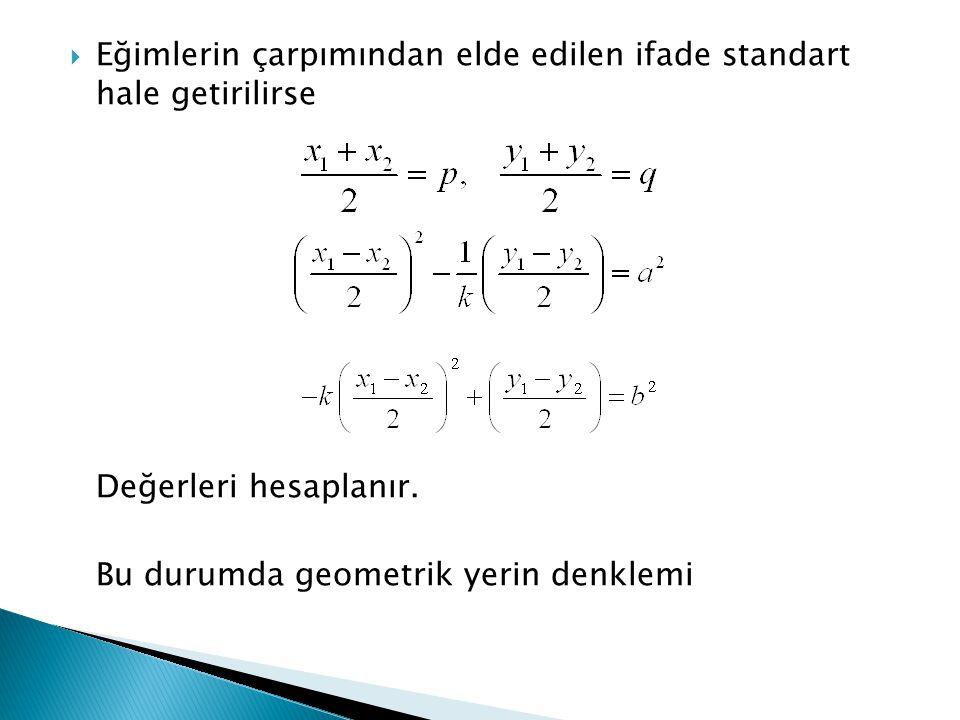  Eğimlerin çarpımından elde edilen ifade standart hale getirilirse Değerleri hesaplanır. Bu durumda geometrik yerin denklemi