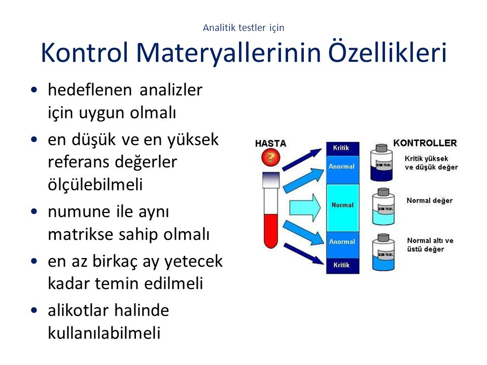 Kontrol Materyalleri Çeşitleri  Dondurulmuş, liyofilize ve kimyasal olarak korunmuş halde bulunurlar  Liyofilize ve dondurulmuş kontroller çözdürülürken dikkat edilmeli Kaynakları  satın alınabilir  referans laboratuvar veya merkezden temin edilebilir  in-house (laboratuvarda) hazırlanabilir.