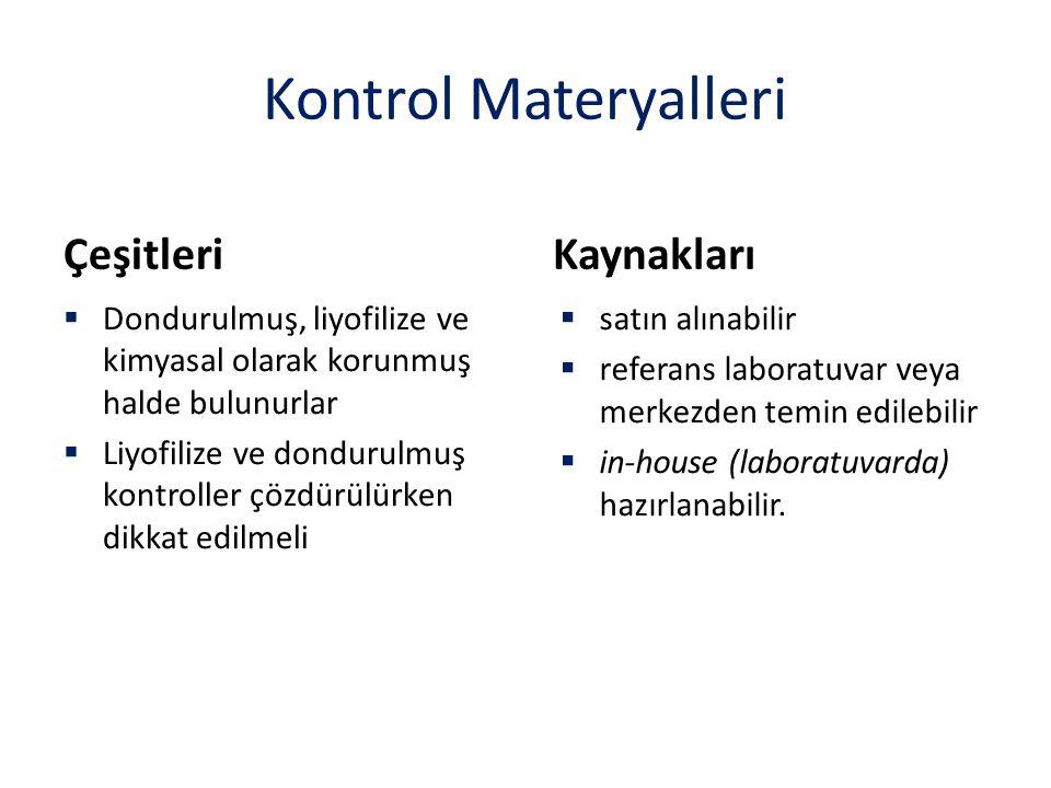 Kontrol Materyalleri Çeşitleri  Dondurulmuş, liyofilize ve kimyasal olarak korunmuş halde bulunurlar  Liyofilize ve dondurulmuş kontroller çözdürülü