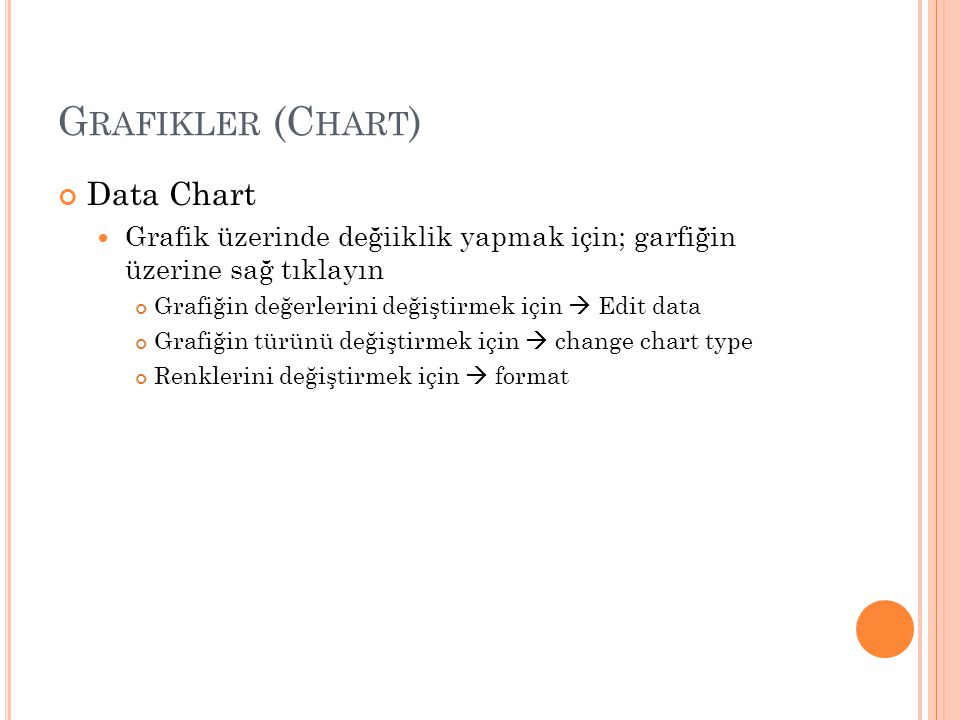 G RAFIKLER (C HART ) Data Chart Grafik üzerinde değiiklik yapmak için; garfiğin üzerine sağ tıklayın Grafiğin değerlerini değiştirmek için  Edit data Grafiğin türünü değiştirmek için  change chart type Renklerini değiştirmek için  format