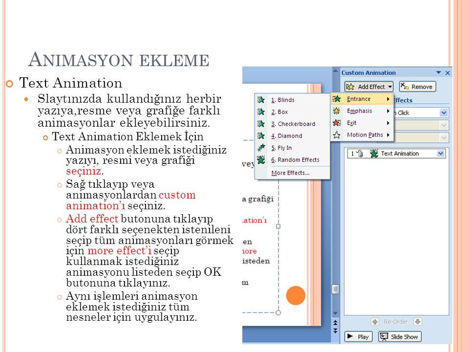 A NIMASYON EKLEME Text Animation Slaytınızda kullandığınız herbir yazıya,resme veya grafiğe farklı animasyonlar ekleyebilirsiniz. Text Animation Eklem