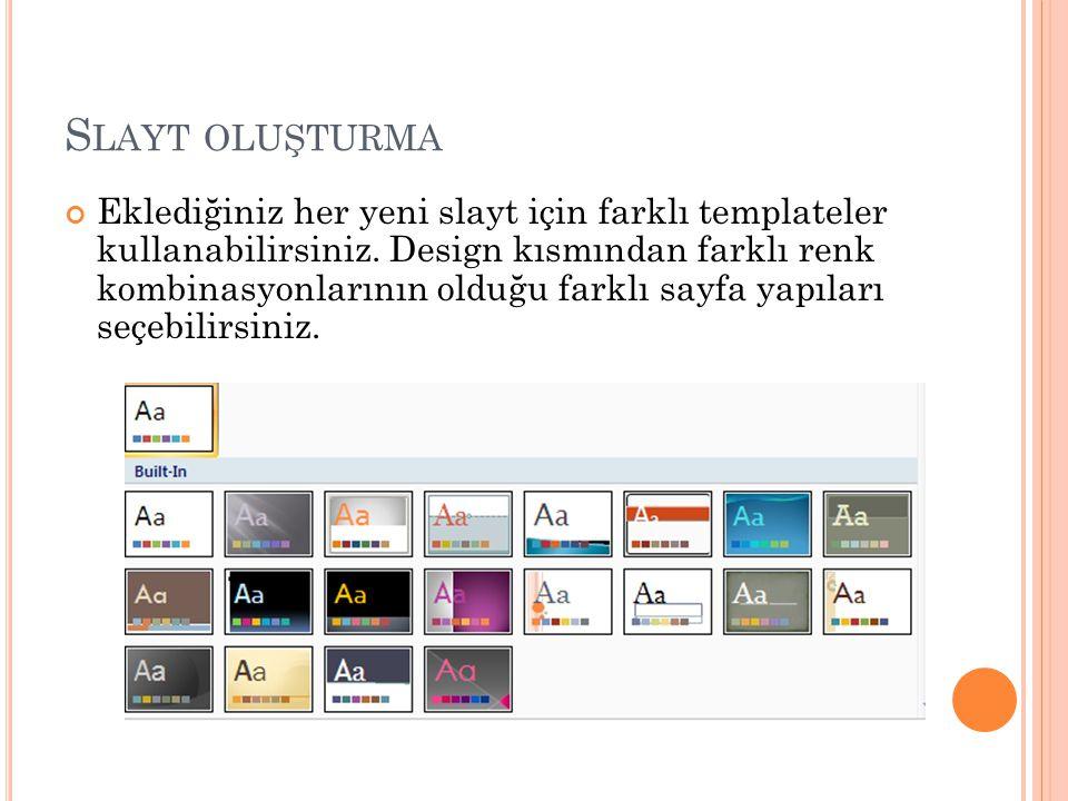 S LAYT OLUŞTURMA Eklediğiniz her yeni slayt için farklı templateler kullanabilirsiniz.