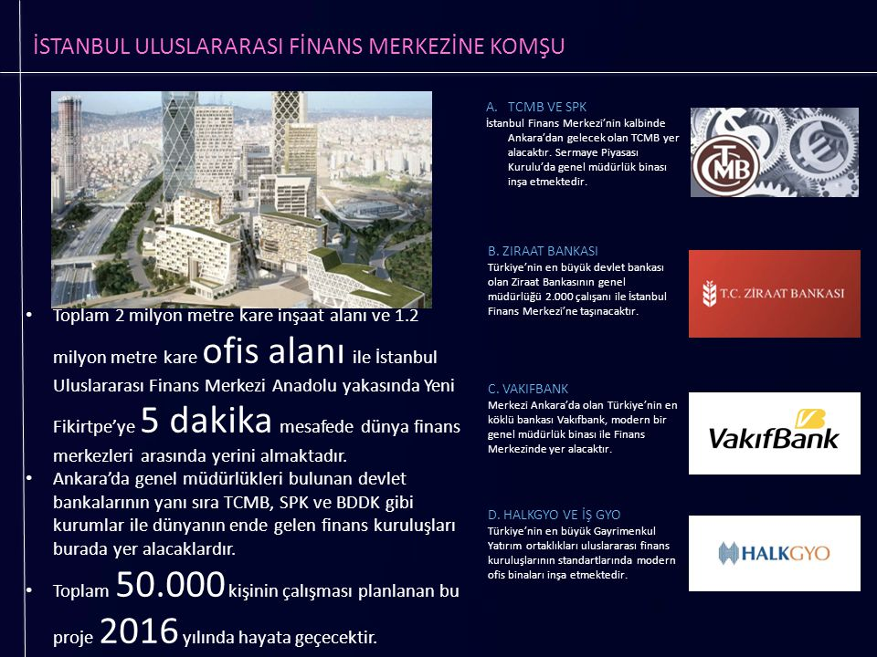 İSTANBUL ULUSLARARASI FİNANS MERKEZİNE KOMŞU Toplam 2 milyon metre kare inşaat alanı ve 1.2 milyon metre kare ofis alanı ile İstanbul Uluslararası Fin