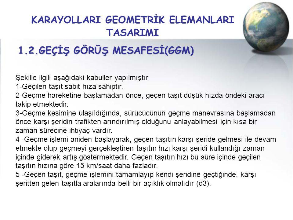 KARAYOLLARI GEOMETRİK ELEMANLARI TASARIMI 1.2.GEÇİŞ GÖRÜŞ MESAFESİ(GGM) Şekille ilgili aşağıdaki kabuller yapılmıştır 1-Geçilen taşıt sabit hıza sahip