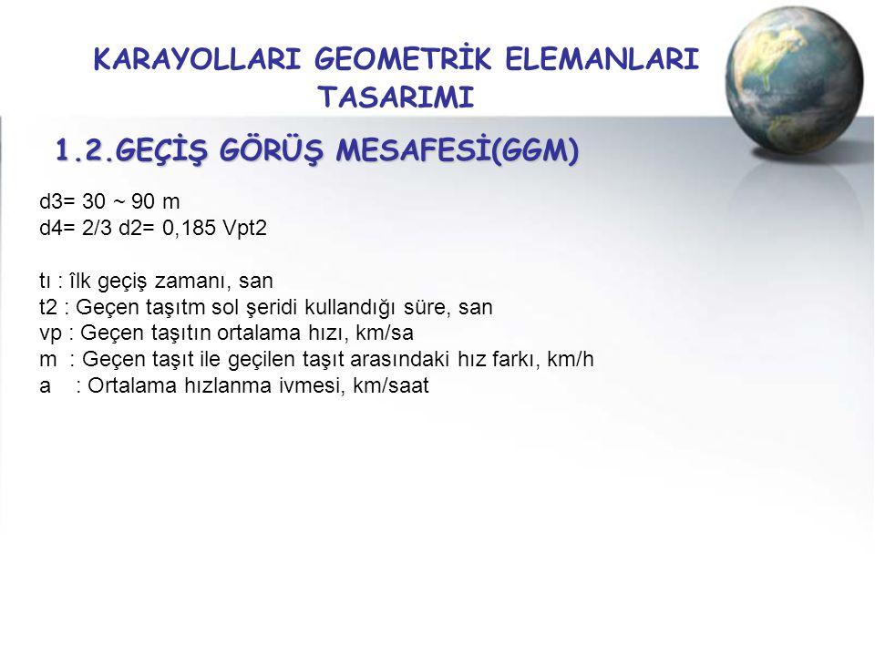 KARAYOLLARI GEOMETRİK ELEMANLARI TASARIMI 1.2.GEÇİŞ GÖRÜŞ MESAFESİ(GGM) d3= 30 ~ 90 m d4= 2/3 d2= 0,185 Vpt2 tı : îlk geçiş zamanı, san t2 : Geçen taş