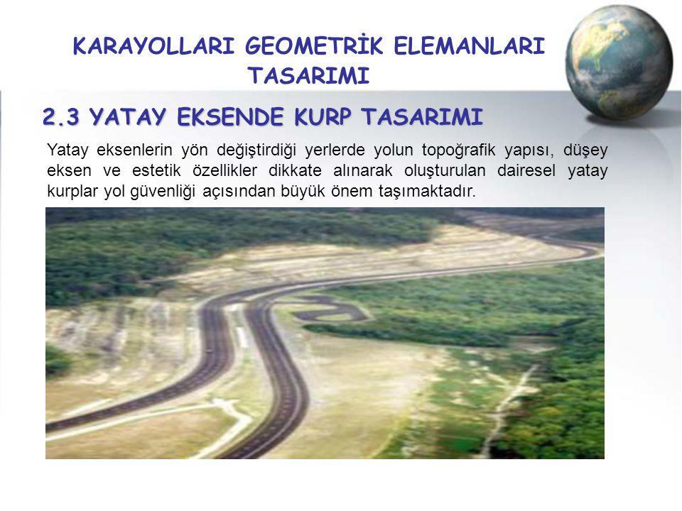 KARAYOLLARI GEOMETRİK ELEMANLARI TASARIMI 2.3 YATAY EKSENDE KURP TASARIMI Yatay eksenlerin yön değiştirdiği yerlerde yolun topoğrafik yapısı, düşey ek