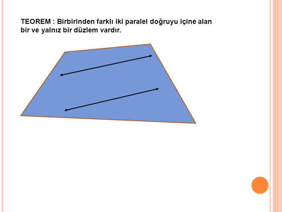 TEOREM : Birbirinden farklı iki paralel doğruyu içine alan bir ve yalnız bir düzlem vardır.