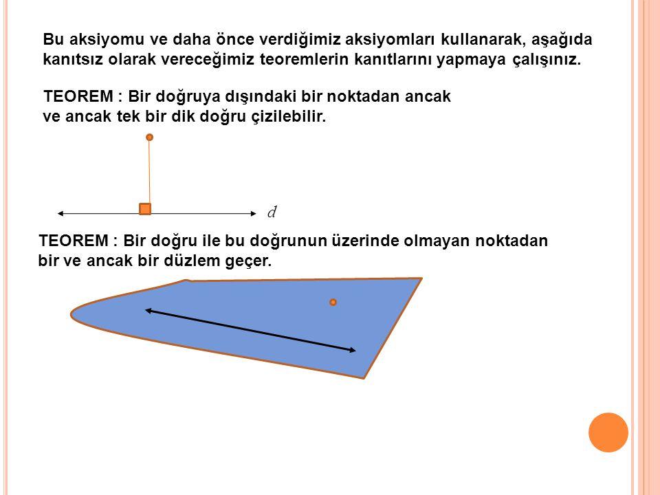 TEOREM : Bir doğruya dışındaki bir noktadan ancak ve ancak tek bir dik doğru çizilebilir. Bu aksiyomu ve daha önce verdiğimiz aksiyomları kullanarak,