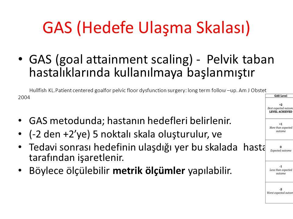 GAS (Hedefe Ulaşma Skalası) GAS (goal attainment scaling) - Pelvik taban hastalıklarında kullanılmaya başlanmıştır Hullfish KL.Patient centered goalfo