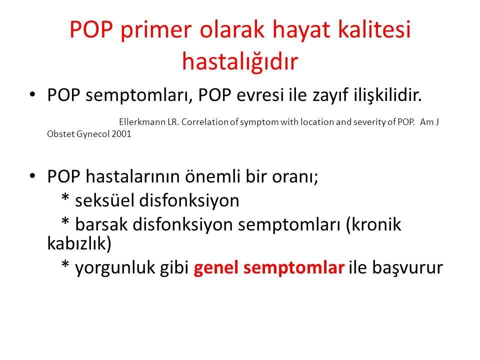 POP primer olarak hayat kalitesi hastalığıdır POP semptomları, POP evresi ile zayıf ilişkilidir. Ellerkmann LR. Correlation of symptom with location a