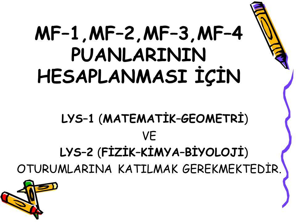 MF–1,MF–2,MF–3,MF–4 PUANLARININ HESAPLANMASI İÇİN LYS–1 (MATEMATİK–GEOMETRİ) VE LYS–2 (FİZİK–KİMYA–BİYOLOJİ) OTURUMLARINA KATILMAK GEREKMEKTEDİR.
