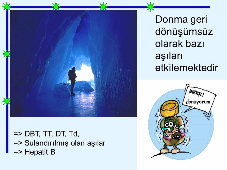 => DBT, TT, DT, Td, => Sulandırılmış olan aşılar => Hepatit B Donma geri dönüşümsüz olarak bazı aşıları etkilemektedir