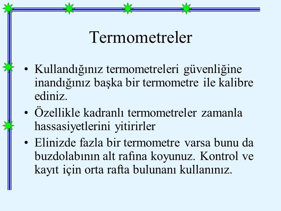 Kullandığınız termometreleri güvenliğine inandığınız başka bir termometre ile kalibre ediniz.