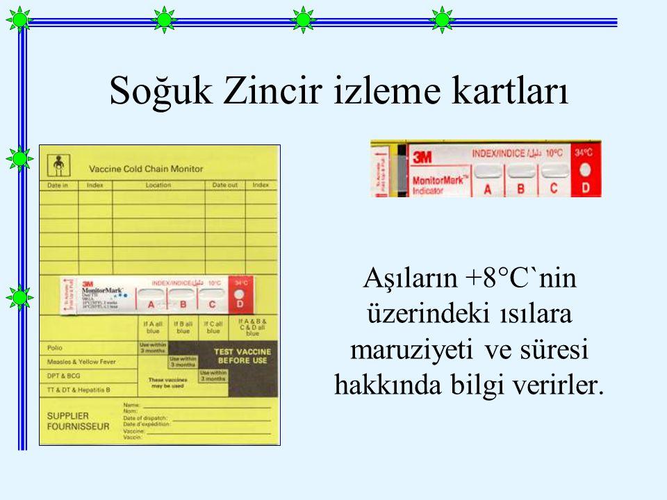Soğuk Zincir izleme kartları Aşıların +8°C`nin üzerindeki ısılara maruziyeti ve süresi hakkında bilgi verirler.