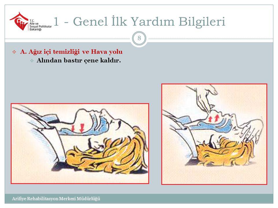 1 - Genel İlk Yardım Bilgileri 9  B.( Bak-Dinle-Hisset) ile solunum  Bak – Dinle - Hisset.