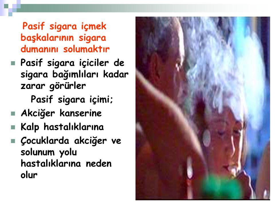 Pasif sigara içmek başkalarının sigara dumanını solumaktır Pasif sigara içiciler de sigara bağımlıları kadar zarar görürler Pasif sigara içimi; Akciğe