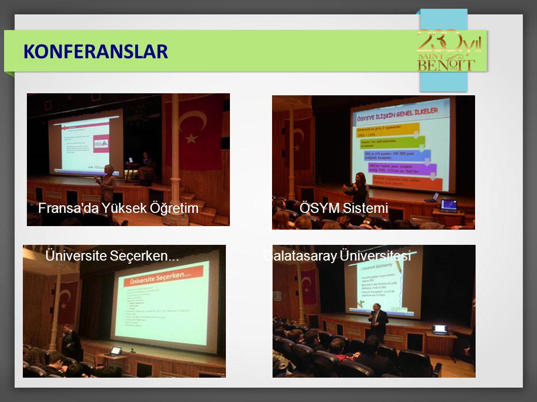 KONFERANSLAR Fransa da Yüksek Öğretim ÖSYM Sistemi Üniversite Seçerken... Galatasaray Üniversitesi