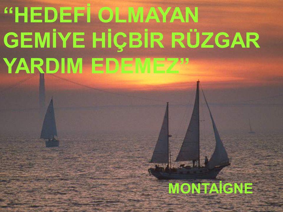 Mehmet YAMAN REHBERLİK SERVİSİ ''HEDEFİ OLMAYAN GEMİYE HİÇBİR RÜZGAR YARDIM EDEMEZ'' MONTAİGNE
