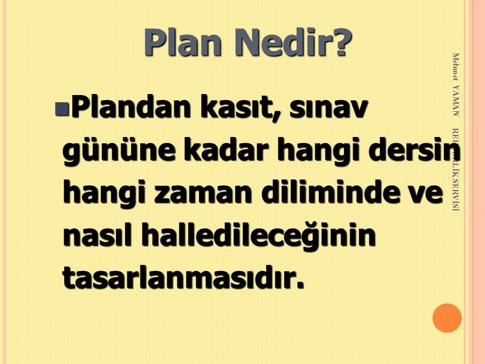 Mehmet YAMAN REHBERLİK SERVİSİ Plan Nedir? n Plandan kasıt, sınav gününe kadar hangi dersin gününe kadar hangi dersin hangi zaman diliminde ve hangi z