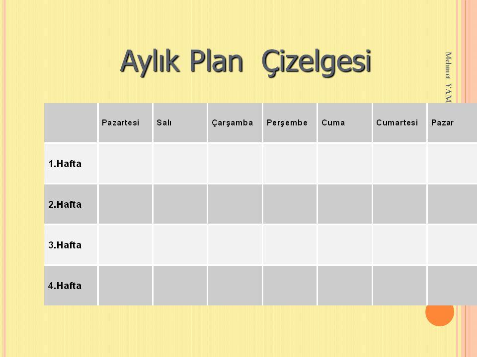 Mehmet YAMAN REHBERLİK SERVİSİ Aylık Plan Çizelgesi