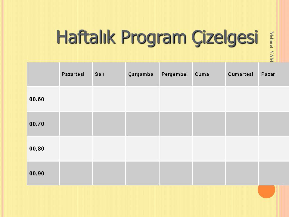 Mehmet YAMAN REHBERLİK SERVİSİ Haftalık Program Çizelgesi