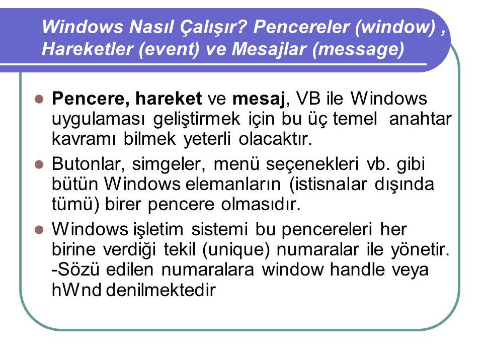 Pencere, hareket ve mesaj, VB ile Windows uygulaması geliştirmek için bu üç temel anahtar kavramı bilmek yeterli olacaktır.