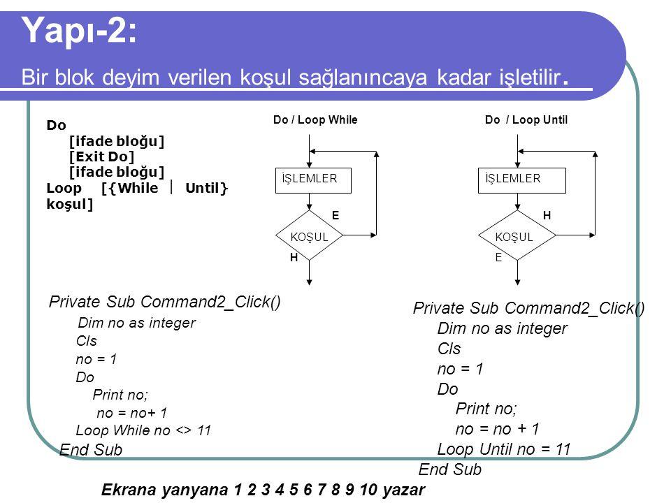 Yapı-1: Bir blok deyimi verilen koşul doğru (True) yada yanlış (False) olduğu sürece işletir. Do [{While  Until} koşul] [ifade bloğu] [Exit Do] [ifad