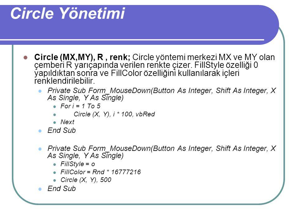 Line Yönetimi Line (X1,Y1) - (X2,Y2), renk;Line yöntemi form üzerine çizgi çizmek için kullanılır. X1 ve Y1 başlangıç, X2 ve Y2 bitiş noktasını belirl