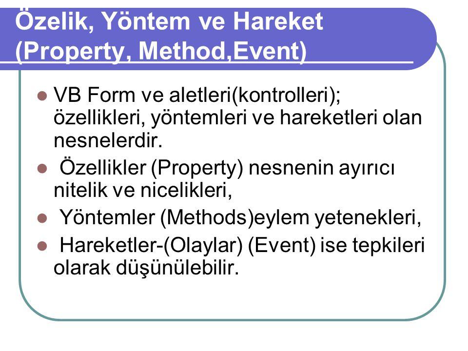 Özelik, Yöntem ve Hareket (Property, Method,Event) VB Form ve aletleri(kontrolleri); özellikleri, yöntemleri ve hareketleri olan nesnelerdir.