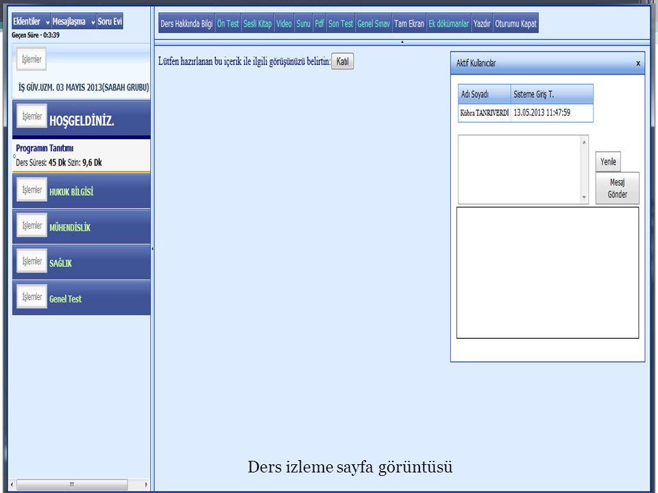 Ders izleme sayfa görüntüsü
