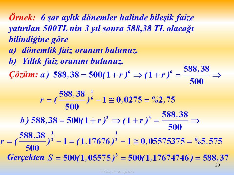 Yrd. Doç. Dr. Mustafa Akkol 20 6 şar aylık dönemler halinde bileşik faize yatırılan 500TL nin 3 yıl sonra 588,38 TL olacağı bilindiğine göre a)dönemli