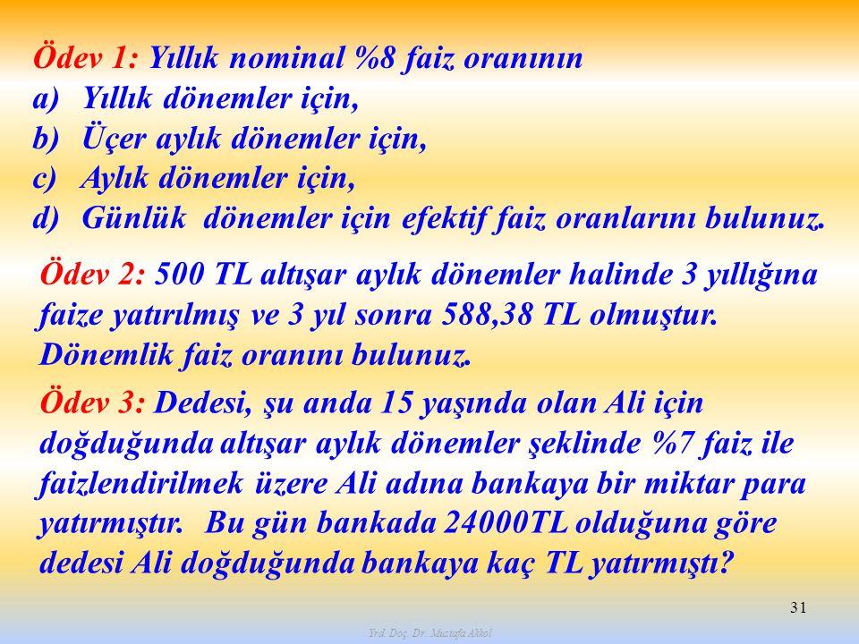 Yrd. Doç. Dr. Mustafa Akkol 31 Ödev 1: Yıllık nominal %8 faiz oranının a)Yıllık dönemler için, b)Üçer aylık dönemler için, c)Aylık dönemler için, d)Gü