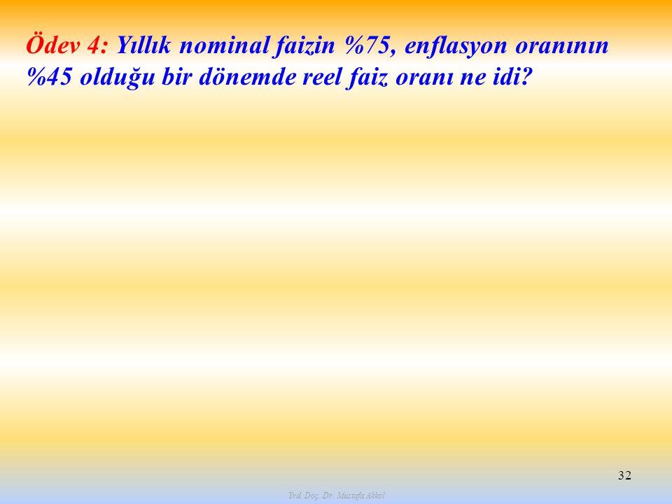 Yrd. Doç. Dr. Mustafa Akkol 32 Ödev 4: Yıllık nominal faizin %75, enflasyon oranının %45 olduğu bir dönemde reel faiz oranı ne idi?