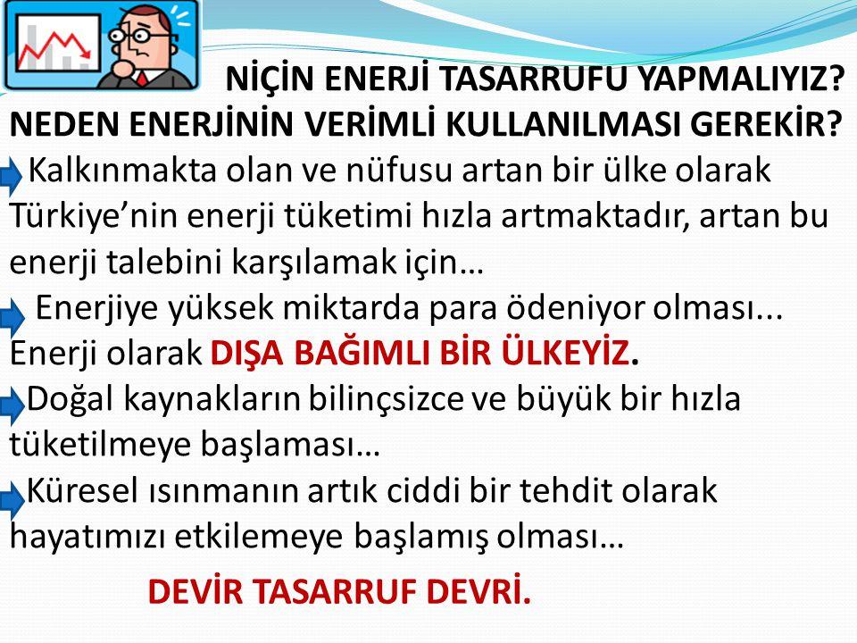 NİÇİN ENERJİ TASARRUFU YAPMALIYIZ? NEDEN ENERJİNİN VERİMLİ KULLANILMASI GEREKİR? Kalkınmakta olan ve nüfusu artan bir ülke olarak Türkiye'nin enerji t