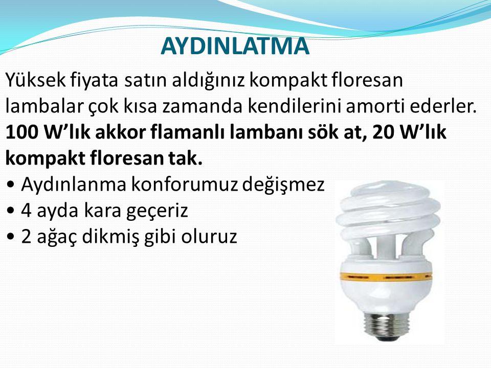 AYDINLATMA Yüksek fiyata satın aldığınız kompakt floresan lambalar çok kısa zamanda kendilerini amorti ederler. 100 W'lık akkor flamanlı lambanı sök a