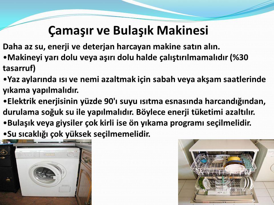 Çamaşır ve Bulaşık Makinesi Daha az su, enerji ve deterjan harcayan makine satın alın. Makineyi yarı dolu veya aşırı dolu halde çalıştırılmamalıdır (%