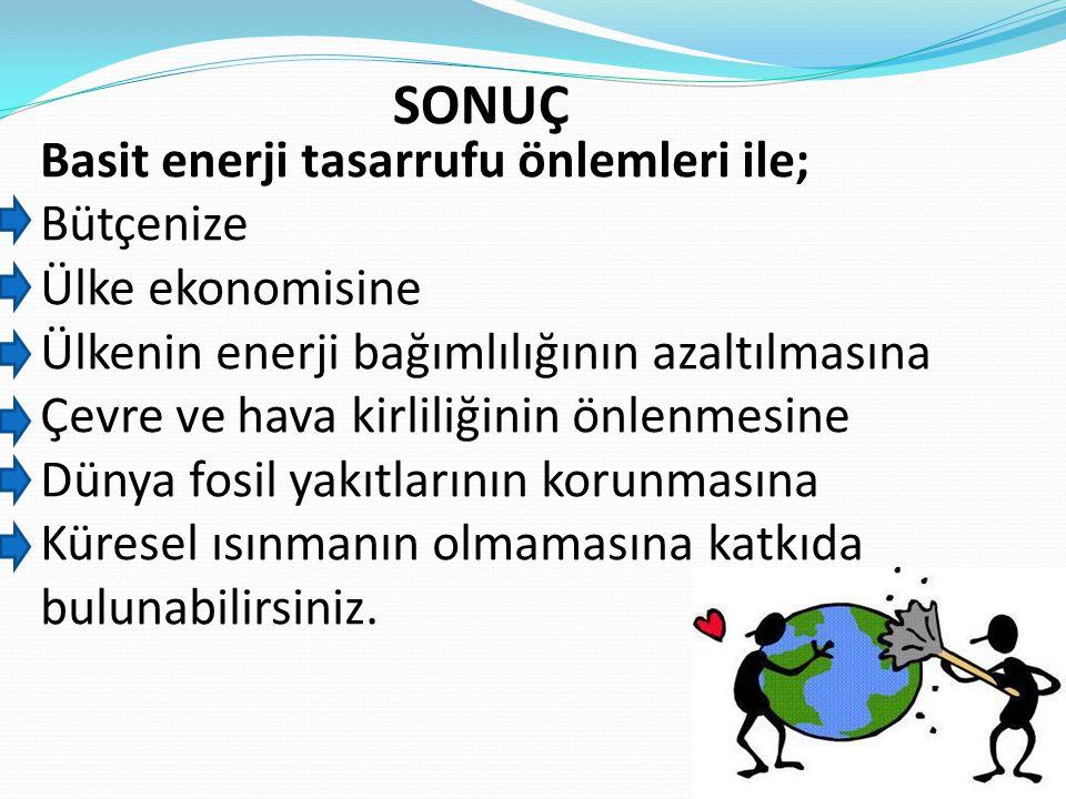 Basit enerji tasarrufu önlemleri ile; Bütçenize Ülke ekonomisine Ülkenin enerji bağımlılığının azaltılmasına Çevre ve hava kirliliğinin önlenmesine Dü