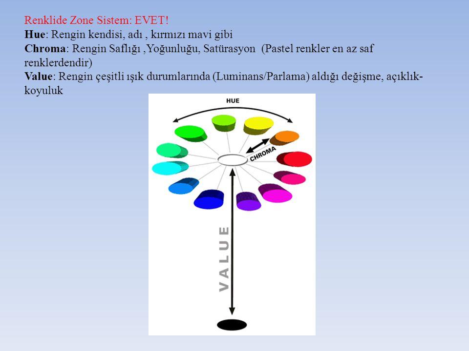 Renklide Zone Sistem: EVET! Hue: Rengin kendisi, adı, kırmızı mavi gibi Chroma: Rengin Saflığı,Yoğunluğu, Satürasyon (Pastel renkler en az saf renkler