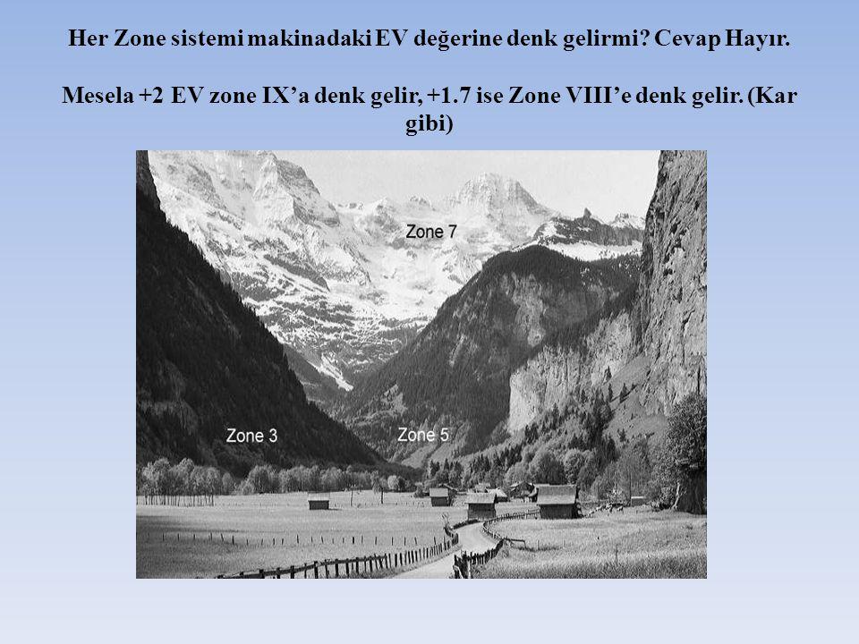 Her Zone sistemi makinadaki EV değerine denk gelirmi? Cevap Hayır. Mesela +2 EV zone IX'a denk gelir, +1.7 ise Zone VIII'e denk gelir. (Kar gibi)