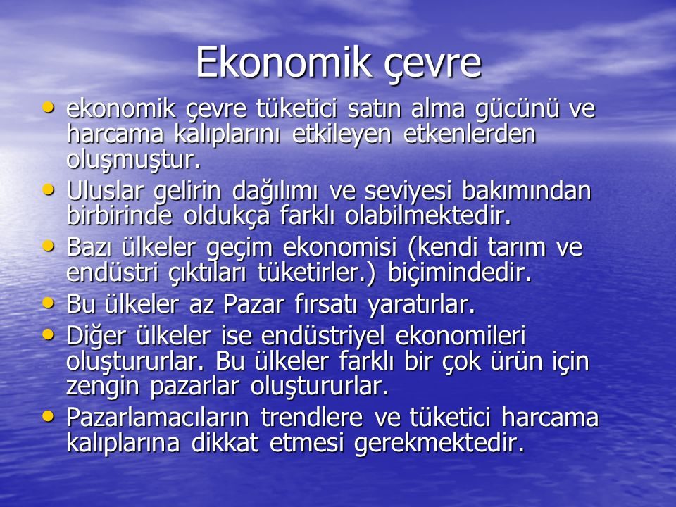 Ekonomik çevre ekonomik çevre tüketici satın alma gücünü ve harcama kalıplarını etkileyen etkenlerden oluşmuştur. ekonomik çevre tüketici satın alma g