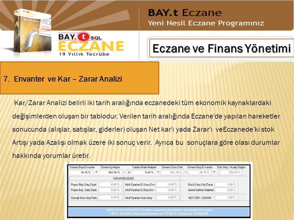 Eczane ve Finans Yönetimi 7. Envanter ve Kar – Zarar Analizi Kar/Zarar Analizi belirli iki tarih aralığında eczanedeki tüm ekonomik kaynaklardaki deği