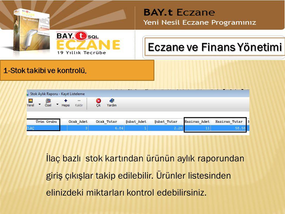 Eczane ve Finans Yönetimi İlaç bazlı stok kartından ürünün aylık raporundan giriş çıkışlar takip edilebilir. Ürünler listesinden elinizdeki miktarları