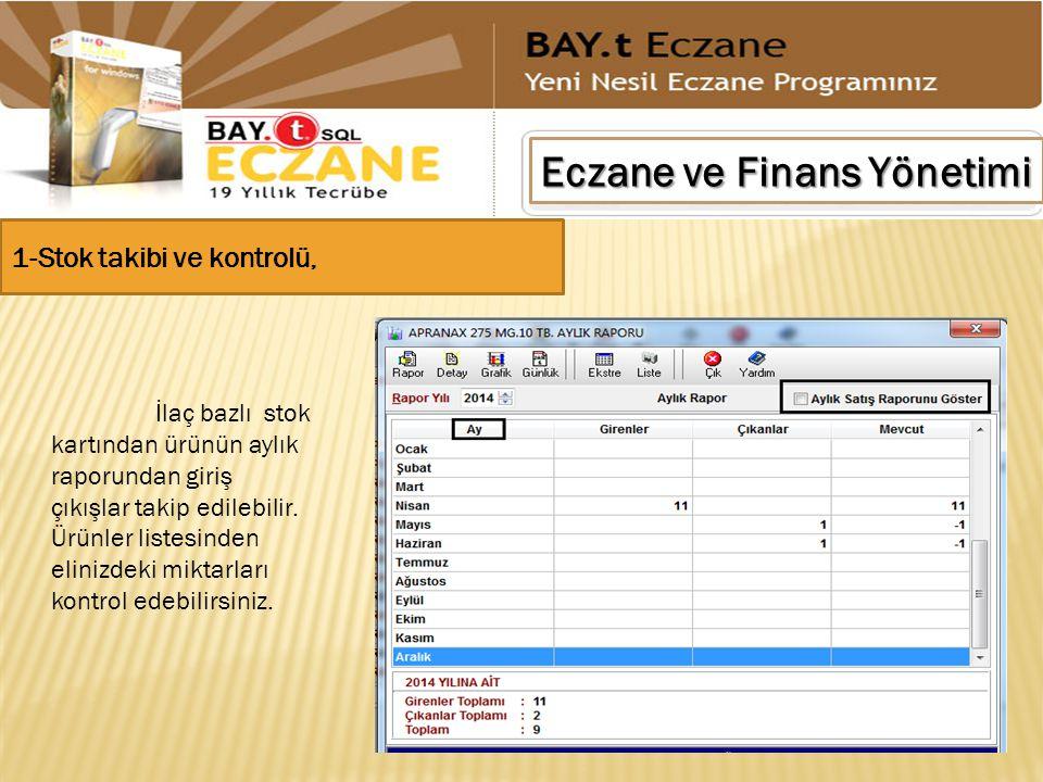 Eczane ve Finans Yönetimi 1-Stok takibi ve kontrolü, İlaç bazlı stok kartından ürünün aylık raporundan giriş çıkışlar takip edilebilir. Ürünler listes