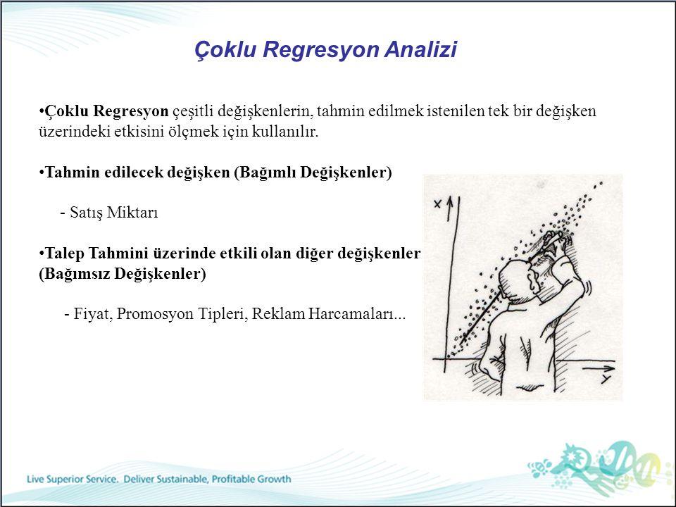 Çoklu Regresyon Analizi Çoklu Regresyon çeşitli değişkenlerin, tahmin edilmek istenilen tek bir değişken üzerindeki etkisini ölçmek için kullanılır. T