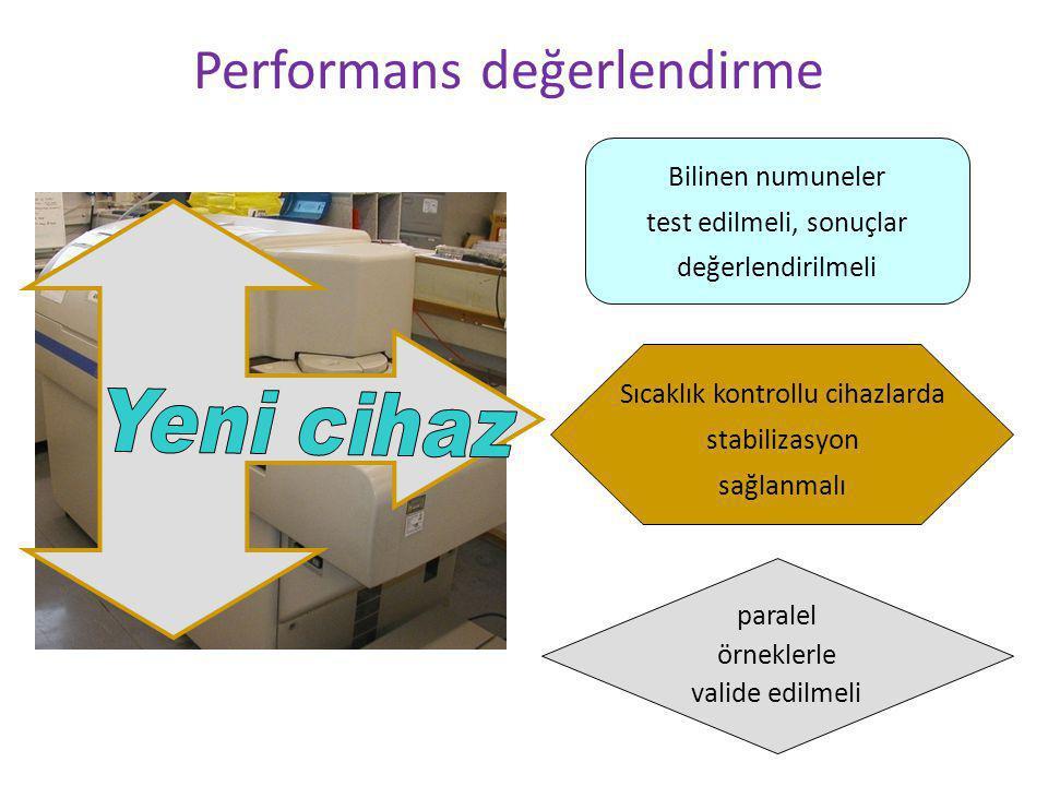 Performans değerlendirme Bilinen numuneler test edilmeli, sonuçlar değerlendirilmeli paralel örneklerle valide edilmeli Sıcaklık kontrollu cihazlarda