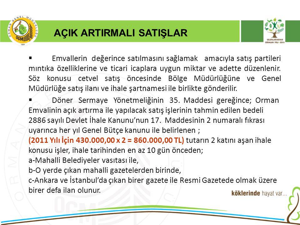 AÇIK ARTIRMALI SATIŞLAR  Emvallerin değerince satılmasını sağlamak amacıyla satış partileri mıntıka özelliklerine ve ticari icaplara uygun miktar ve