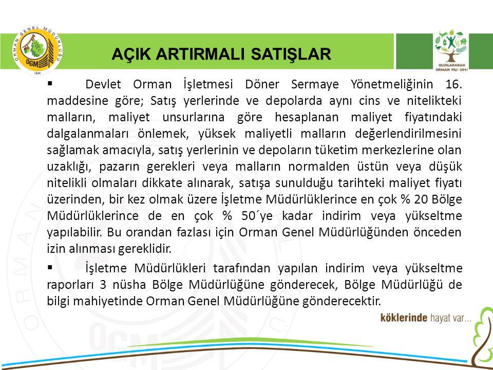 AÇIK ARTIRMALI SATIŞLAR  Devlet Orman İşletmesi Döner Sermaye Yönetmeliğinin 16. maddesine göre; Satış yerlerinde ve depolarda aynı cins ve nitelikte