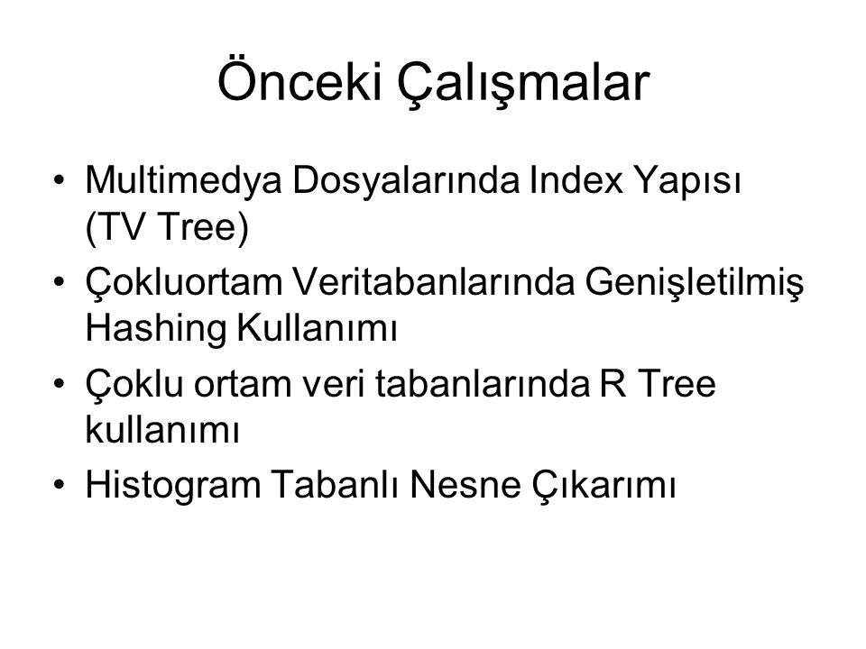 Önceki Çalışmalar Multimedya Dosyalarında Index Yapısı (TV Tree) Çokluortam Veritabanlarında Genişletilmiş Hashing Kullanımı Çoklu ortam veri tabanlarında R Tree kullanımı Histogram Tabanlı Nesne Çıkarımı